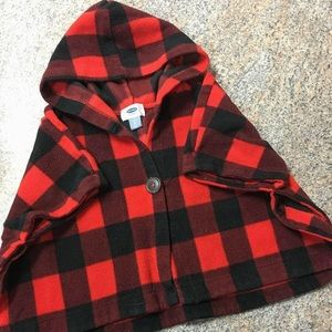 Old Navy red black checkered fleece hooded poncho